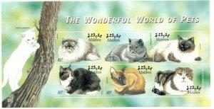 Maldives MNH S/S Wonderful World Of Pets Cats PURR!!! PURR!!!!