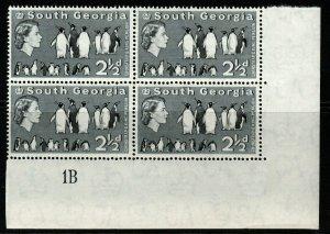 SOUTH GEORGIA SG4 1963 2½d BLACK MNH PLATE BLOCK OF 4