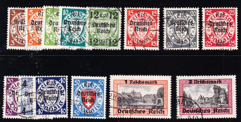 Danzig. 1939 Stamps Surcharged Under German Occupation. Set Complete VF(O)