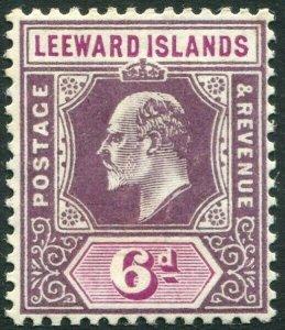 LEEWARD ISLANDS-1911 6d Dull & Bright Purple Sg 42 MOUNTED MINT V33896