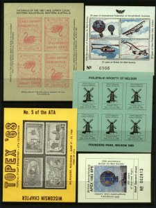 GB USA Australia Philatelic Exhibition and Show Labels - Various (5v) Cinderella