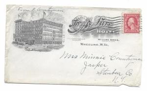 Wheeling, West Virginia to Jasper, New York 1916 Illustrated Hotel corner card