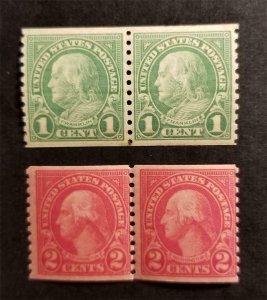 US Scott 597 599 Coil Pair MNH OG Mint Never Hinged Stamp Lot T6460