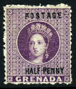 GRENADA QV 1881 Surcharged HALF PENNY on Deep Mauve SG 21 MINT