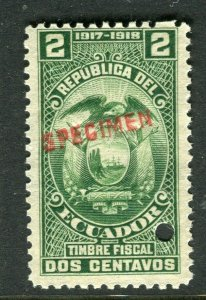 ECUADOR; Early 1917 fine Fiscal issue Mint MNH unmounted SPECIMEN 2c.