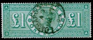 SG212, £1 green, FINE USED, CDS. Cat £800. BA