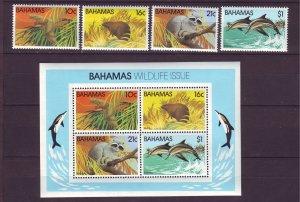 Z721 JLstamps 1982 bahamas set mh s/s mnh #514-17a wildlife