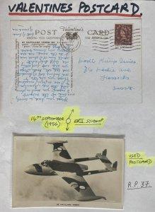 1956 Kent England RPPC Postcard Cover To Sussex Havilland Venom Airplane