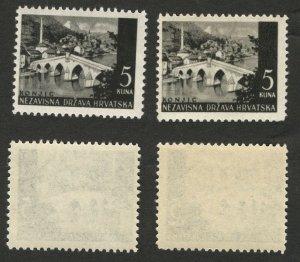 CROATIA - NDH - 2 MNH STAMPS, 5 kuna - DIFERENT COLOR  -1941/42/43.