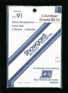 Showgard Black Stamp Mounts  111/91 PreCut  (6 count)