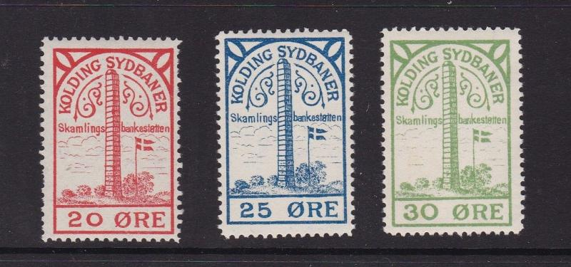 Denmark Railway Stamps Kolding Sydbaner Mint Never Hung VGC