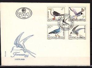 Yugoslavia, Scott cat. 1687-1690. Birds issue. First day cover.^