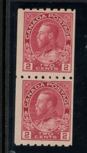 Canada #124 Mint Fine Lightly Hinged Coil Pair