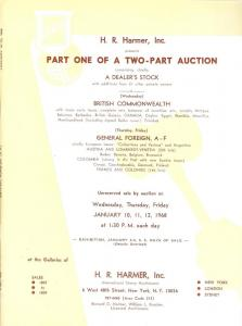 HR Harmer: Sale # 1807-1809  -  Part One of A Two-Part Au...