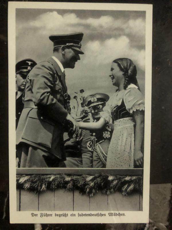 1938 Befreiung Sudetenlad Germany RPPC Postcard Cover Fuhrer Greeting a Girl