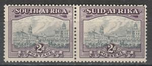 SOUTH AFRICA 1933 UNION BUILDINGS 2D PAIR GREY & DULL PURPLE HYPHENATED