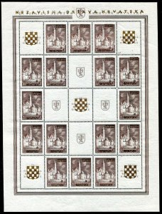 CROATIA GERMAN PUPPET STATE B1-B2 PHILATELIC EXHIB RARE PERFECT MNH SHEET SET