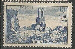 FRANCE, 1929, mint  2.40fr + 2.60fr Caen Scott B199
