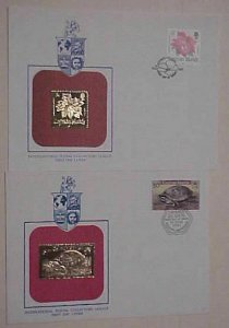 CAYMAN ISLANDS 2 DIFF. FDC GOLD FOIL TURTLE & FLOWER CACHET UNADDRESSED