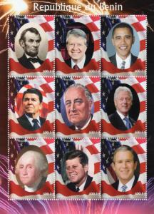 Benin 2009 American Presidents/Barack Obama Shlt (9) #1 Perforated MNH