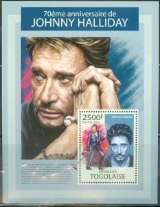 TOGO 2013 MUSIC JOHNNY HALLIDAY 70TH BIRTH ANNIVERSARY SOUVENIR SHEET