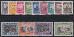 Colombia 1941 SC C121-C133 MNH Speciment Ovpt Set