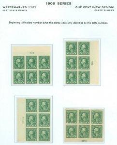 US Scott #408, 4 Plate Blocks/6, 7116, 6614, Mint-XF-OG, Mostly NH! (DK-4-21-21)