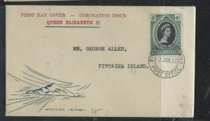 PITCAIRN ISLANDS COVER (P0405B)  1953 QEII CACHETED FDC SENT LOCALLY