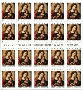 USA #3675a CHRISTMAS Madonna and Child Pane of 20 Stamps Postage Sheet 2002 MNH