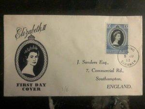 1953 Kuching Sarawak to England Queen Elizabeth II Coronation First Day cover