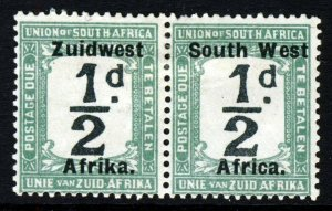 SOUTH WEST AFRICA 1924 POSTAGE DUES ½d. Black & Green Bilingual Pair SG D23 MINT