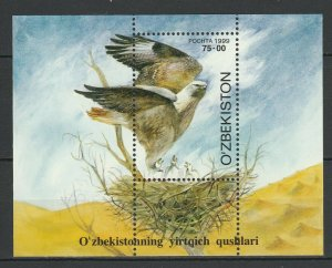Uzbekistan 1999 Birds of Prey MNH Block