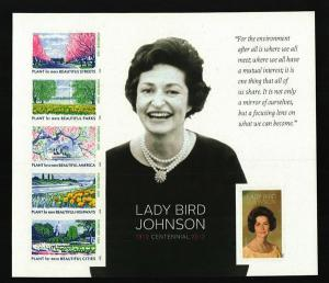 2012 45c Lady Bird Johnson, Sheet of 6, Imperforate Scott 4716g Mint F/VF NH