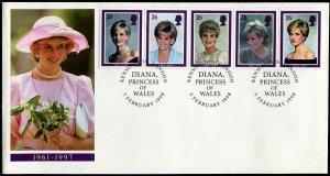 Great Britain FDC 1791-5 Princess Diana 1998