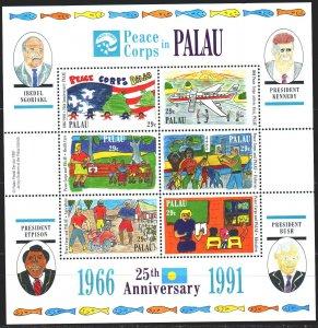 Palau. 1991. bl121. US Peace Corps in Palau. MNH.