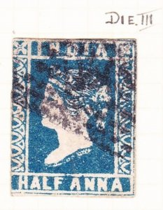 INDIA 1855 1/2A Blue Die III SG8a Used