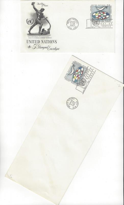 United Nations U3 & 3a, Postal Stationery,  ArtCraft & No Cachet FDC