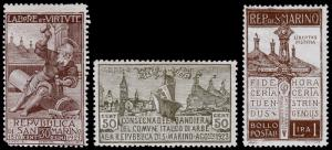 San Marino Scott 81, 82, 83 (1923) Mint H F-VF, CV $24.00