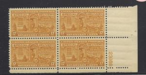 United States, E18,Special Delivery Plate Block of 4 #23168 LR,**MNH** (LibS2)