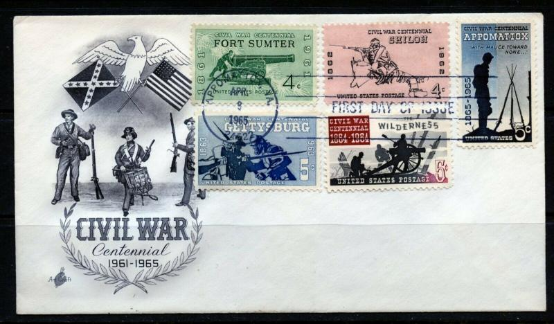 UNITED STATES 1965 COMBINATION CIVIL WAR ARTCRAFT  FIRST DAY COVER
