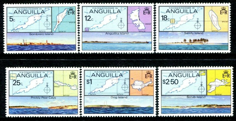 ANGUILLA - 1979 - MAPS - OUTER ISLANDS - SANDY - DOG - SCRUB + MINT MNH SET!