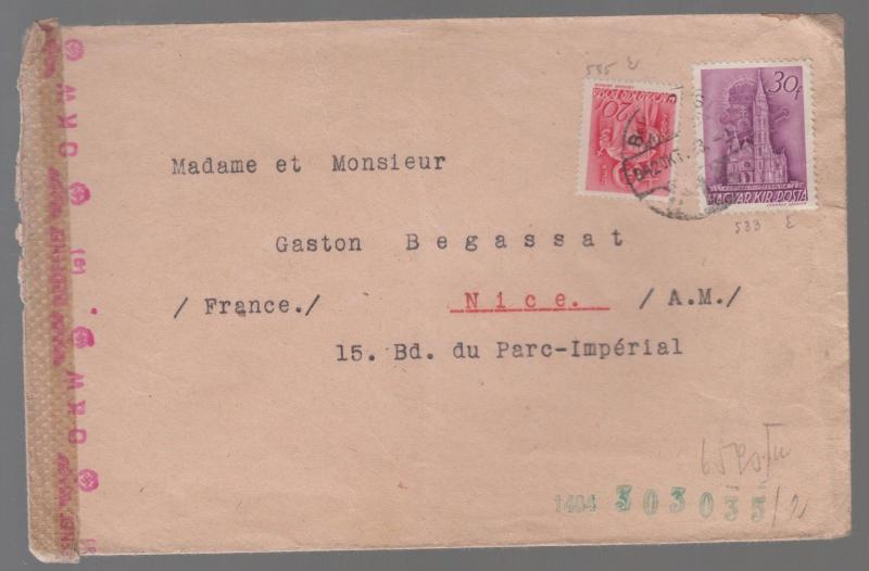 1943 censored Hungary airmail Cover to Nice France