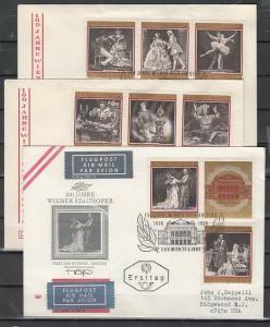 Austria, Scott cat. 840 A-H. Vienna Opera House Centenary. 3 First day covers. ^