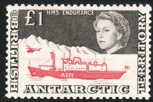 1963 BAT British Antarctic QE £1 HMS Endrance issue MLH Sc# 24 CV $160.00