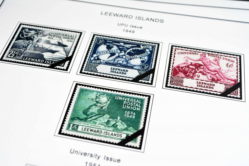 COLOR PRINTED LEEWARD ISLANDS 1890-1954 STAMP ALBUM PAGES (8 illustrated pages)
