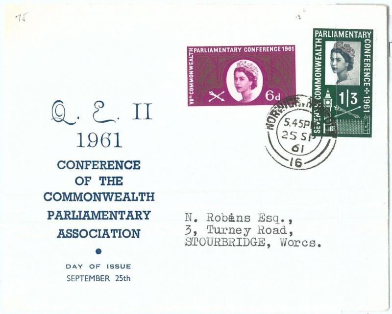 72473 - GREAT BRITAIN - POSTAL HISTORY - SG # 629/30 FDC Cover 1961 - PARLIAMENT