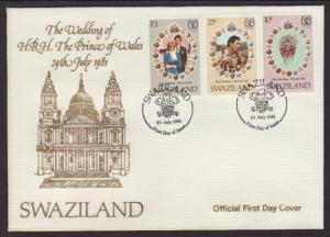 Swaziland 382-384 Royal Wedding 1981 U/A FDC