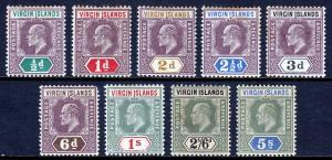 VIRGIN ISLANDS — SCOTT 29-37 (SG 54-62) — 1904 KEVII SET — MH — SCV $123.75