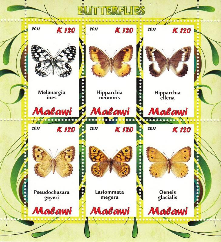 Malawi 2011 M/S Insects Butterfly Butterflies Papillon Animals Stamps MNH (1)