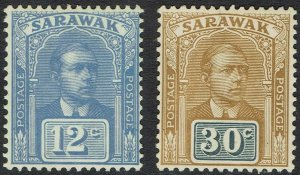 SARAWAK 1922 RAJA BROOKE 12C AND 30C NO WMK